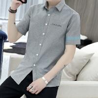 新款牛津纺短袖衬衫男士韩版修身青少年印花衬衣潮