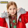 【2件5折价:19.95】巴拉巴拉儿童手套女童冬季新款加厚保暖针织男童翻盖半指小熊毛线
