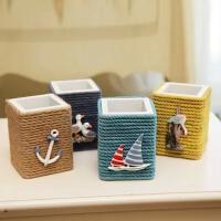 DH优贝家 地中海创意木质笔筒现代时尚家居饰品 办公室工艺品礼物
