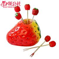 白领公社 水果叉 套装创意不锈钢叉子带座个性卡通可爱造型水果签家用儿童蛋糕叉实用家居小工具