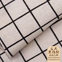 棉麻布料背景布亚麻格子沙发ins风桌布挂布花布窗帘布头y 白底黑线格2*2cm 4米