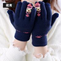 手套女冬天可爱甜美分指韩版百搭防滑骑行骑车毛绒加厚防寒保暖手套