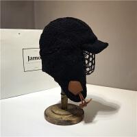 秋冬季时尚帽女休闲保暖鸭舌帽羊羔毛绒护耳飞行帽子男潮 M(56-58cm)