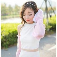夏季雪纺蕾丝素色防晒袖套手套 简约长款遮阳防紫外线 紫色
