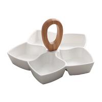 创意陶瓷干果盘中式客厅糖果坚果仁分格盘水果零食拼盘年货收纳盒 五角星