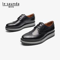 莱尔斯丹 男鞋商场同款时尚商务休闲布洛克系带平底男单鞋皮鞋LS ATM84302