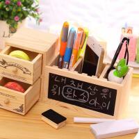 木制可爱抽屉收纳盒 双层黑板笔筒 多功能时尚创意笔筒
