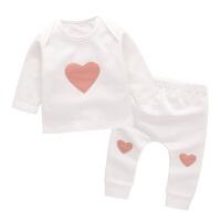 女宝宝两件套春秋 0-3个月婴儿套装6男童内衣韩版 新生儿衣服春装