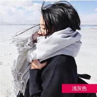 毛线围巾女网红同款时尚户外运动新品韩版加厚长款仿羊绒披肩两用学生保暖围脖韩国
