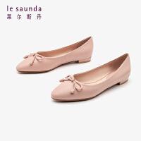 莱尔斯丹2019新款小圆头瓢鞋浅口蝴蝶结低跟船鞋女单鞋AT10901