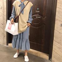 秋季韩版新款中长款蝴蝶结纯色连衣裙+针织毛衣无袖马甲两件套女 均码