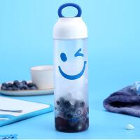 白领公社 塑料杯 创意可爱儿童学生表情水瓶清新个性便携防漏运动随手杯带盖塑料水杯