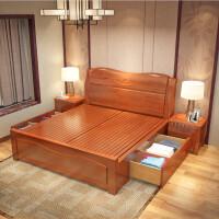豪家全实木床1.8米双人床橡木床1.5米储物高箱床婚床中式主卧家具
