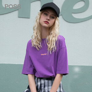 PASS2018夏装新品宽松ins超火的紫色t恤女短袖圆领字母百搭上衣潮