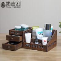 桌面木质抽屉式化妆品收纳盒 护肤品口红化妆刷多功能实木收纳盒 多功能化妆收纳