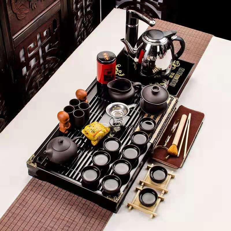 全黑紫砂小兰香二合一套装功夫茶具套装家用整套简约实木茶盘茶壶