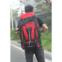 户外登山包双肩背包男女70升防水旅行双肩包大容量行李包运动背囊 红色 70升