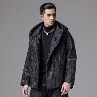 PINLI品立裁魂棉衣2019冬季新款男装暗黑连帽提花棉服外套上衣潮