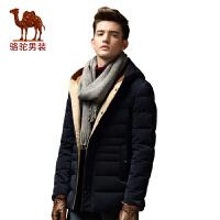 骆驼&熊猫联名系列男装羽绒服男士连帽修身白鸭绒上衣外套潮男
