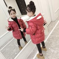 女童外套2017新款中大童韩版加厚加绒中长款百搭儿童羽绒潮