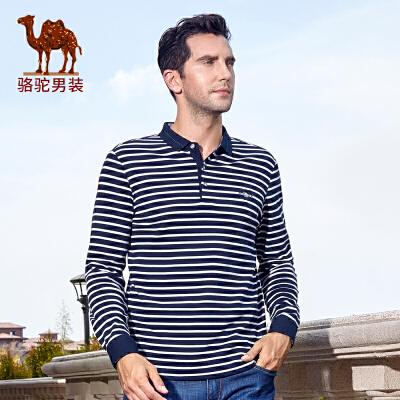骆驼男装 秋季新款时尚商务休闲纯棉条纹长袖T恤衫 男棉T恤