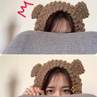 韩版小清新可爱保暖针织毛线猫耳朵护耳罩
