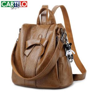 卡帝乐鳄鱼女包百搭防盗双肩包新款韩版时尚多用可爱蝴蝶结背包旅行包