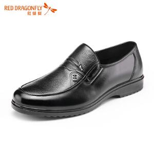 红蜻蜓男鞋传统套脚防滑商务休闲皮鞋