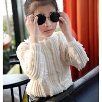 女童毛衣2017新款中大童韩版百搭毛线衣大童高领时髦针织衫季 米白色
