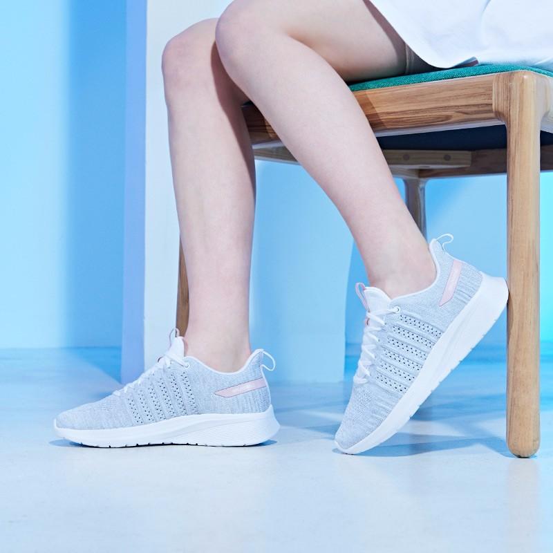361度女鞋2019春季新款跑步鞋低帮运动鞋N 1度白/灰粉 681912240