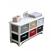 床头收纳柜实木电视柜现代简约卧室储物边柜田园藤编抽屉柜免安装 1个