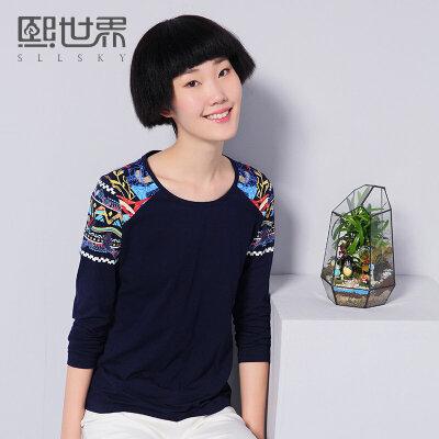 熙世界秋季新款棉质圆领修身民族风印花长袖T恤女装193LT098