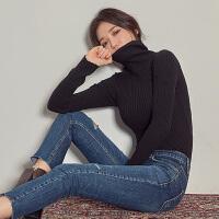 黑色高领毛衣女套头修身紧身针织打底衫女长袖秋冬2018新款加厚