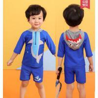 新品分体中小童连帽鲨鱼中袖防晒男宝宝女童泳衣滩泳装户外新款儿童泳衣
