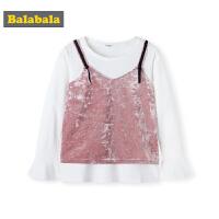 巴拉巴拉童装儿童t恤女童打底衫秋装2019新款中大童甜美丝绒吊带
