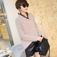 V领蕾丝宽松毛衣女18春季新款韩版时尚兔绒保暖宽松毛针织衫外套 均码