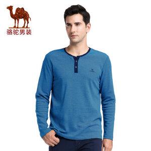 骆驼男装 秋季新款时尚商务细条纹V领绣标休闲长袖T恤衫男士
