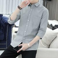 男士牛津纺七分袖衬衫2019新款韩版修身衬衣