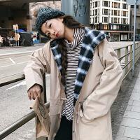 秋冬女装韩版BF风宽松撞色连帽风衣中长款两面穿学生长袖上衣外套