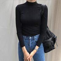 黑色半高领打底衫女长袖纯棉紧身中领T恤秋冬修身内搭加绒上衣 黑色 常规款