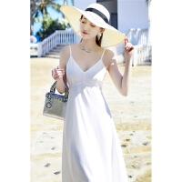 小心机性感露背沙滩裙高腰显瘦吊带连衣裙女夏修身气质泰国度假雪纺v领礼服白色仙女长裙 白色