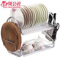 白领公社 沥水碗架 多功能家用2层沥碗架厨房置物架用品不锈钢色碗筷储物收纳盒沥水架