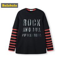 巴拉巴拉男童长袖t恤秋装2019新款童装儿童上衣时尚条纹假两件潮