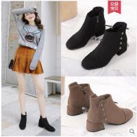 短靴女冬季新款小跟粗跟网红韩版百搭矮靴子女踝靴马丁靴女鞋