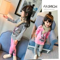 女童装加绒加厚套装2017新款韩版儿童秋卫衣打底裤运动两件套