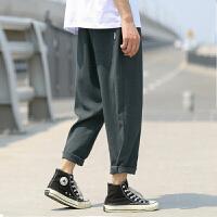 男士休闲裤子夏季薄款纯色九分裤日系直筒宽松长裤百搭潮流学生