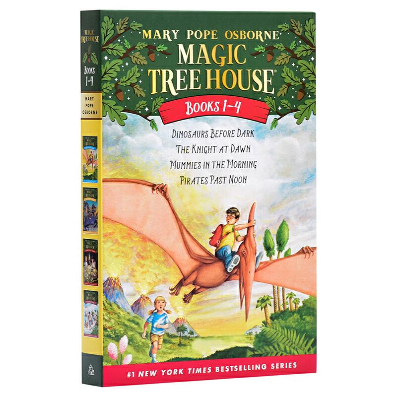 【中商原版】神奇树屋1-4盒装 英文原版 Magic Tree House 玛丽·波·奥斯本 儿童探险文学 小说 6-12岁 Magic Tree House: Dinosaurs Before Dark更多相关好书