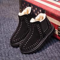 儿童马丁靴铆钉2018秋冬新款中小童加绒男童靴子英伦风女童短靴潮 典雅黑 黑色大棉