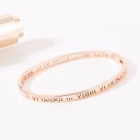 气质英文字母镶钻手镯女款简约镀18k玫瑰金饰品镯子