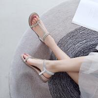 【掌柜推荐】ZHR2019夏季新款罗马凉鞋女超火百搭低跟平底水钻搭配裙子的凉鞋